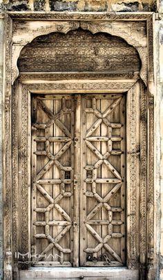 Old wooden door - SaidPur Village Islamabad Vintage Doors, Antique Doors, Entrance Doors, Doorway, Front Doors, Indian Doors, Old Wooden Doors, Porch Entry, Cool Doors