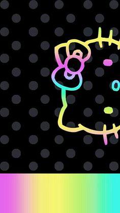 Pastel Neon Hello Kitty Wallpaper