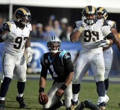 Panthers vs. Rams:  13-10, Panthers  -     Carolina Panthers quarterback Cam Newton (1) looks over after getting sacked as Los Angeles Rams defensive end Eugene Sims (97) and defensive end Ethan Westbrooks (93) celebrate in the second half at Los Angeles Memorial Coliseum in Los Angeles, CA on Sunday, November 6, 2016. The Panthers won, 13-10.