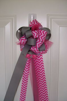 Baby Shower Corsage, Girl Baby Shower Corsage, Baby Shower Decor, Pink and Gray Chevron Baby Shower