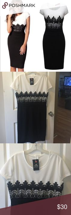 """NWT Black & White Colorblock Lace  Dress Oriential Sizing XL so fits smaller like medium or large. Great for special occasions! Use flat laying measurements for guide.                               Armpit to armpit 19.5"""", Waist 16.5"""", Length shoulder to hem 38.5 """".  ------------- Feel free to make a reasonable offer. Not sure whats reasonable? Check out the chart at the top of my closet! ☺️ Me meixi Dresses Midi"""