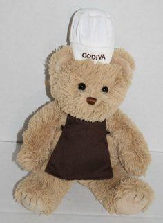 "Gund stuffed animal bear tan plush Godiva chef hat brown apron 8"" 46886 small"