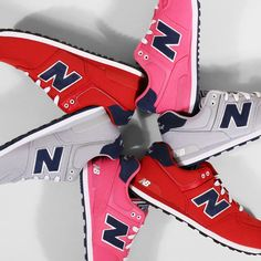 Kids New Balance 574's in red, pink and grey. $60 New Balance 574, Kids Sneakers, Pink Grey, Footwear, Red, Shoes, Fashion, Moda, Zapatos
