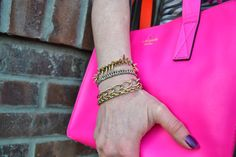 Particularly Practically Pretty: Grey stripes and pops of pink, gold #stelladot arm party