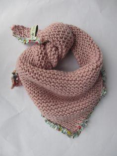 Chèche bébé, laine et liberty porcelaine