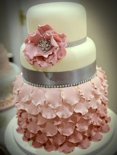 Wedding cake. Light pinks and silver accents with flowers <3<3
