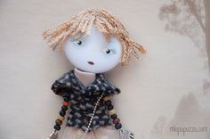 Art Doll Brooch Romantic Girl mixed media collage by miopupazzo,