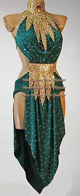 Ballroom Rhythm Salsa Latin Rumba Competition Dance Dress US 6 UK 8 Green Gold