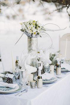 all-white wonderland outdoor winter wedding tablescape