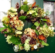DRIED HYDRANGEA WREATH Cones Lemon Leaf Lunaria by BLOSSOMY, $55.00