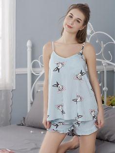 2018 WAVMIT New Women Pajamas Suit Sexy Home Sleepwear Shortless Sleeve Pyjamas with Chest Pad Girl Short Pajamas Pant Summer Cute Pajama Sets, Cute Pajamas, Pajamas For Teens, Pajamas Women, Pajama Outfits, Cute Outfits, Night Suit For Girl, Cute Sleepwear, Womens Pyjama Sets