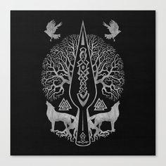 Gungnir - Spear of Odin and Tree of life -Yggdrasil Canvas Print by Creativemotions - MEDIUM Viking Tattoo Sleeve, Viking Tattoo Symbol, Norse Tattoo, Viking Tattoo Design, Celtic Tattoos, Viking Tattoos, Tattoo Sleeves, Viking Art, Viking Symbols