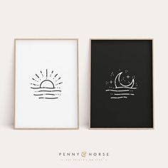 Diy Canvas Art, Diy Wall Art, Art Diy, Simple Wall Art, Painting Canvas, Abstract Illustration, Abstract Art, Moon Print, Sun Moon