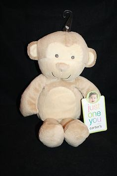 "Carters Monkey Just One You NEW Plush 10"" Tan Light Brown Baby Toy Lovey Stuffed"