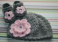 Winter Heather Gray Baby Girl Hat and Mary Jane Set with Big Pink Flower Booties shoes beanie beret cloche Easter Gift Shower Photo Prop. $32.99, via Etsy.