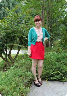 (❤Click the photo to see more xxx❤). Red Skirts, Short Skirts, Short Dresses, Mini Skirts, Jamie Rose, Target Hair Products, Teal Cardigan, Red Mini Skirt, Mod Girl