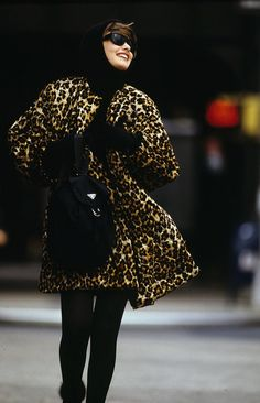 Leopard and a Prada backpack in Vogue, August 1989.