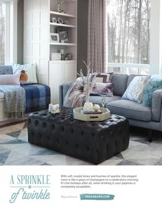 Sea I would like the black ottoman/coffee table ; Gifts For Hubby, Black Ottoman, Urban Barn, Home Decor Inspiration, Decor Ideas, Gift Ideas, All Things Christmas, Catalog, Couch