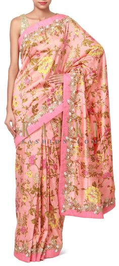 Buy Online from the link below. We ship worldwide (Free Shipping over US$100). Product SKU - 312223. Product Price - $519.00. Product link - http://www.kalkifashion.com/peach-saree-enhanced-in-floral-print-and-embroidered-butti-only-on-kalki.html