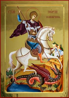 The Holy Great Martyr George. Byzantine Icons, Byzantine Art, Religious Icons, Religious Art, Catholic Saints, Patron Saints, Saint George And The Dragon, Prayer Corner, Roman Church