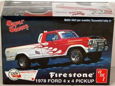 "1978 Ford 4x4 Pickup Firestone AMT reintroduces the Firestone ""Super Stones"" 1978 Ford 4x4 Pickup. Tooling modifications have been made to improve accuracy. Improvements include the re-engraving of do"