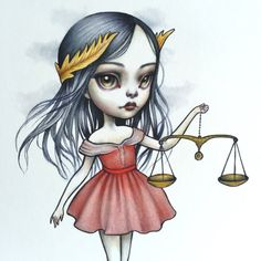 Libra Zodiac Girl signed 8x10 pop surrealism lowbrow by mabgraves