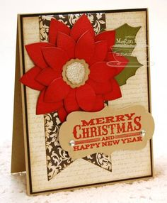 card MFT Poinsettia christmas #mftstamps die-namics