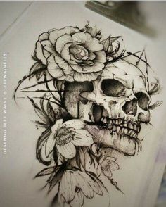 Skull Art Tattoo Drawing Beautiful Ideas For 2019 Kunst Tattoos, Bild Tattoos, Leg Tattoos, Body Art Tattoos, Sleeve Tattoos, Tattos, Tattoo Sketches, Tattoo Drawings, Art Sketches