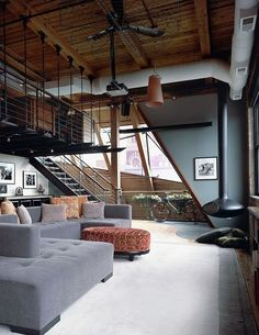 50 Most phenomenal industrial style living rooms....love the ceiling fan!