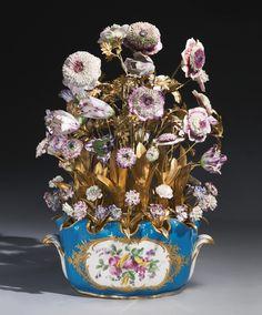 A Louis XV ormolu-mounted Sèvres bleu celeste porcelain seau crénelle the seau crénelé circa 1769, the flowers Vincennes circa 1745-50, the ormolu late 18th/early 19th century | Lot | Sotheby's