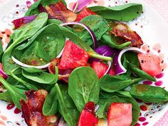 Watermelon, Spinach and Bacon Salad - Put a fruity twist to your side salad with this easy summer recipe.