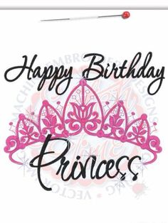 Happy Birthday Princess Crown Machine Embroidered By RockintheTutu 2300
