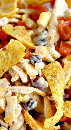 With black beans, Fritos and a bunch of other … Fiesta Ranch Chicken Pasta Salad. With black beans, Fritos and a bunch of other yummy goodness. Pasta Recipes, Chicken Recipes, Dinner Recipes, Cooking Recipes, Healthy Recipes, Spinach Recipes, Potato Recipes, Casserole Recipes, Meat Recipes