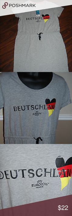 """2016 UEFA EURO  football soccer team dress Germany NWT 2016 UEFA EURO  international football soccer team dress Germany Deutschland .  Rare Officially licensed product Sz L Measurements Under arm to under arm 20.5"""" Length 36.5"""" OWIM Dresses"""