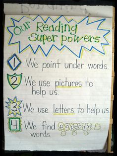 Reading Super Powers anchor chart from Mrs. Jones's Kindergarten (from Lucy Calkins Reader's Workshop for K) use rebus pics Kindergarten Anchor Charts, Kindergarten Language Arts, Reading Anchor Charts, Kindergarten Literacy, Lucy Calkins Kindergarten, Readers Workshop Kindergarten, Literacy Centers, Anchor Charts First Grade, Emergent Literacy