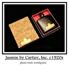 Jasmin by Cartier, Inc., of New York: launched in the Square black glass bottle with gold foil label, black glass button stopper has cork end. Glass Bottles, Glass Vase, Black Perfume, Vanity Design, Antique Perfume Bottles, Fractal Art, Fractals, Black Glass, Hand Blown Glass