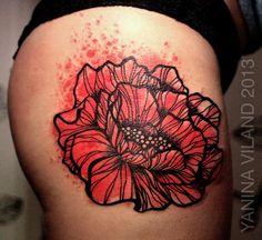 Watercolor Poppy Tattoo   Tags: tattoo tattooart watercolor yanina viland poppy hip tattoo