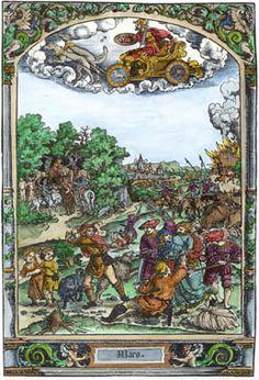 Mars and his  associations. 15th century woodcut by   Hans Sebald Beham or Georg Pencz.  alchemywebsite.com