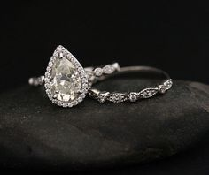 Brilliant Moissanite Engagement Ring with by Twoperidotbirds