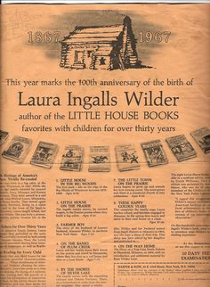 Commemorating Laura Ingalls Wilder's 100th Birthday in 1967
