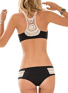 Black halter tank top with beautiful crochet detailing in the back. Top has a cinching detail in front and removable soft pads.  Low rise black bottom with beautiful crochet panels on each side. Bottom offers moderate coverage by L Space Swimwear, $167.00 #lspaceswim