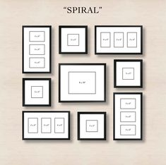 Picture Frames On Wall Layouts. Spiral Gallery Wall Layout Tip Start With Placing The Center Frame And Then Picture Frames On Layouts M Organisation Des Photos, Organization, Photowall Ideas, Gallery Wall Layout, Gallery Walls, Gallery Gallery, Ikea Gallery Wall, Gallery Wall Frame Set, Travel Gallery Wall