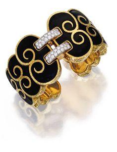 18 K Gold, Platinum, Enamel and Diamond ' Scroll Shoelace' Cuff-Bracelet, David Webb; Enamel Jewelry, Jewelry Art, Fine Jewelry, Jewelry Design, Jewelry Ideas, David Webb, Jacqueline Kennedy Onassis, Beyonce, Expensive Jewelry