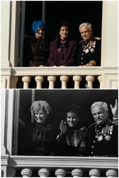 Prince Rainier III,Princess Grace,and Princess Caroline of Monaco at the National Day celebration.November 19,1980.