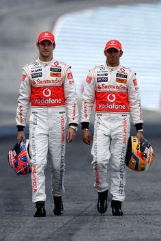 Jenson Button and Lewis Hamilton suit  up.