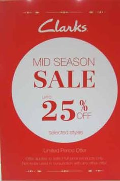 #Clarks at #Forum Mall announces Flat 25% off on selected Merchandise in store till 9th Nov'2014. Check out the store.