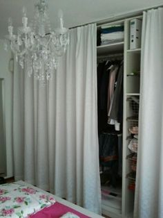 take out the closet doors and use a curtain rod to hang two white curtains instead to hide. Black Bedroom Furniture Sets. Home Design Ideas