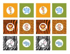 INSTANT DOWNLOAD Printable Safari Animals Cupcake by NhelyDesigns
