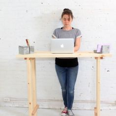 This minimalist standing desk is perfect for a beginning builder AND a beginning standing desk user.