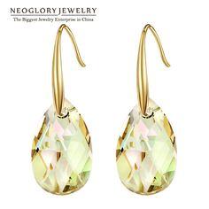Austrian Crystal Gold Plated Chandelier Dangle Drop Earrings for Women Girls Fashion Bridal Jewelry Gift  New JS9